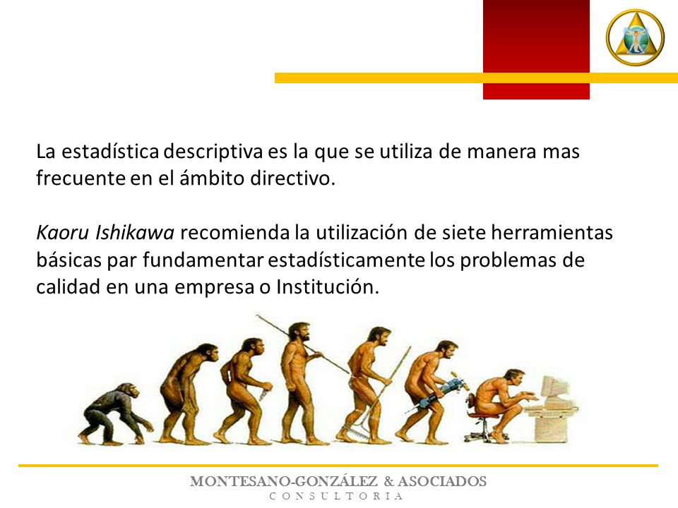 MONTESANO-GONZÁLEZ & ASOCIADOS CONSULTORIA La estadística descriptiva es la que se utiliza de manera mas frecuente en el ámbito directivo.