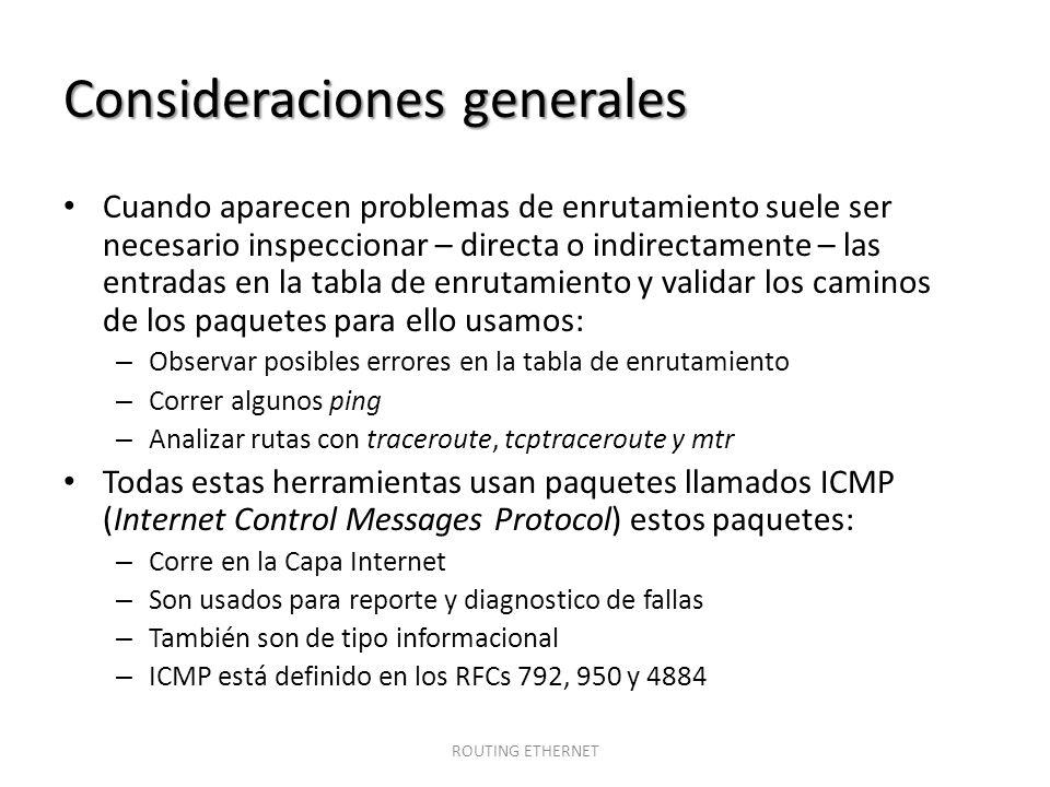 Consideraciones generales Cuando aparecen problemas de enrutamiento suele ser necesario inspeccionar – directa o indirectamente – las entradas en la t