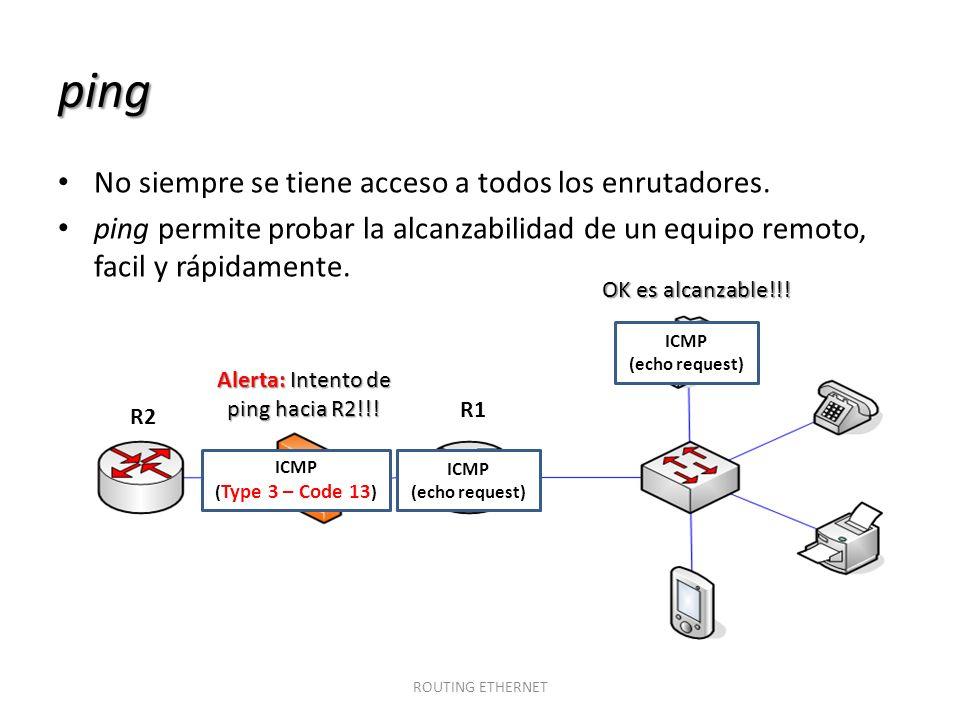 ping No siempre se tiene acceso a todos los enrutadores. ping permite probar la alcanzabilidad de un equipo remoto, facil y rápidamente. ROUTING ETHER