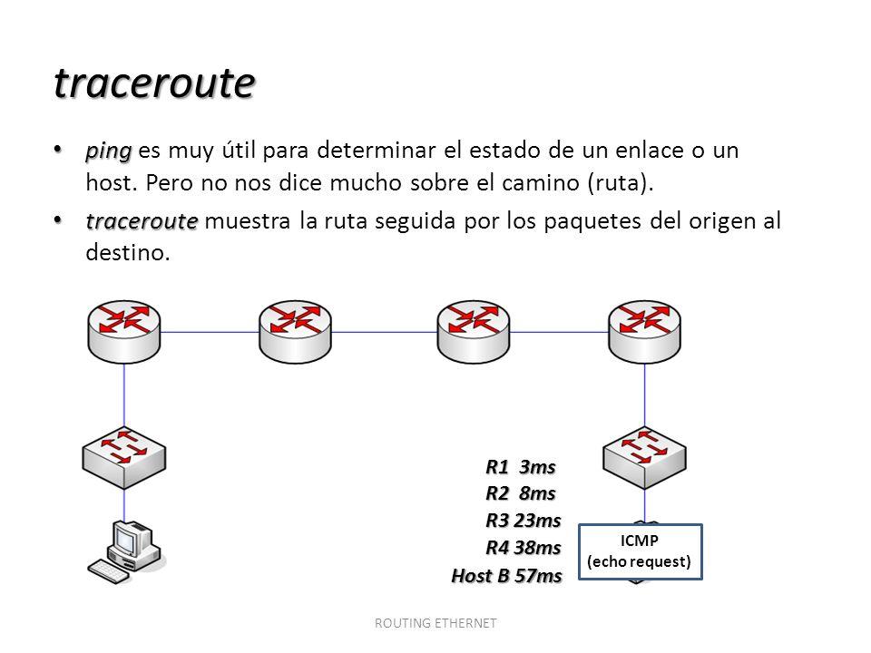 traceroute ping ping es muy útil para determinar el estado de un enlace o un host. Pero no nos dice mucho sobre el camino (ruta). traceroute tracerout