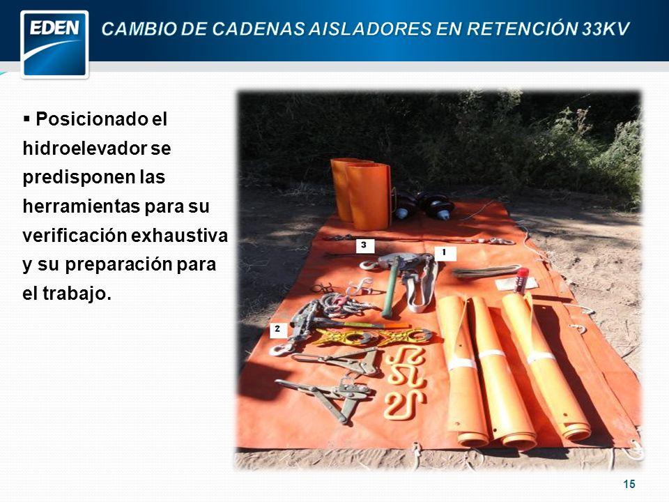 15 Posicionado el hidroelevador se predisponen las herramientas para su verificación exhaustiva y su preparación para el trabajo.