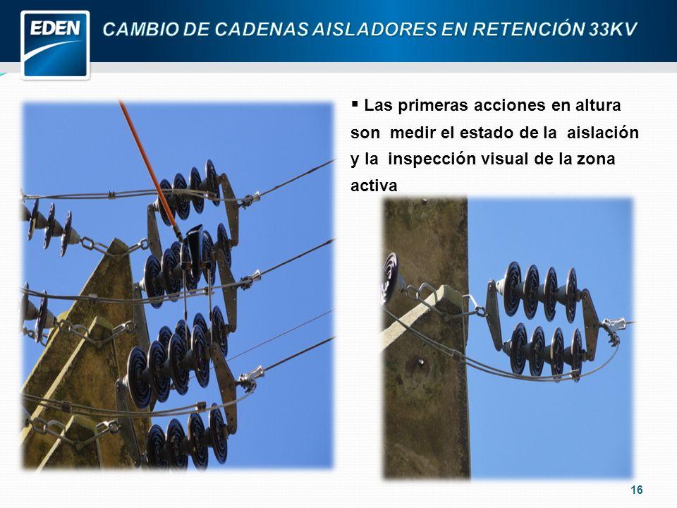 16 Las primeras acciones en altura son medir el estado de la aislación y la inspección visual de la zona activa
