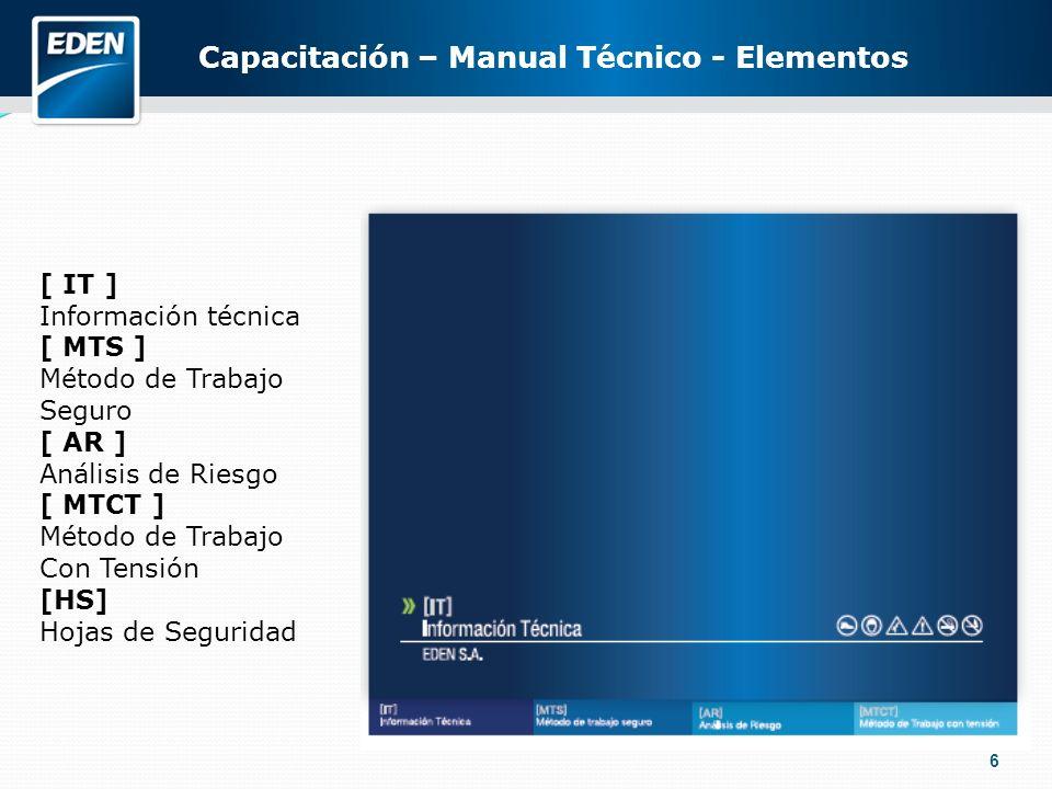 6 [ IT ] Información técnica [ MTS ] Método de Trabajo Seguro [ AR ] Análisis de Riesgo [ MTCT ] Método de Trabajo Con Tensión [HS] Hojas de Seguridad