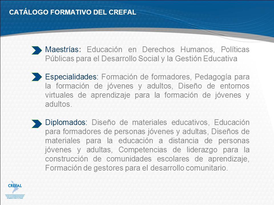 CATÁLOGO FORMATIVO DEL CREFAL Maestrías: Educación en Derechos Humanos, Políticas Públicas para el Desarrollo Social y la Gestión Educativa Especialid