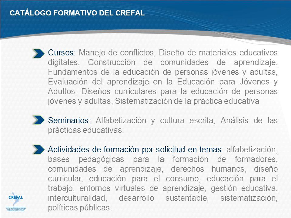 CATÁLOGO FORMATIVO DEL CREFAL Cursos: Manejo de conflictos, Diseño de materiales educativos digitales, Construcción de comunidades de aprendizaje, Fun
