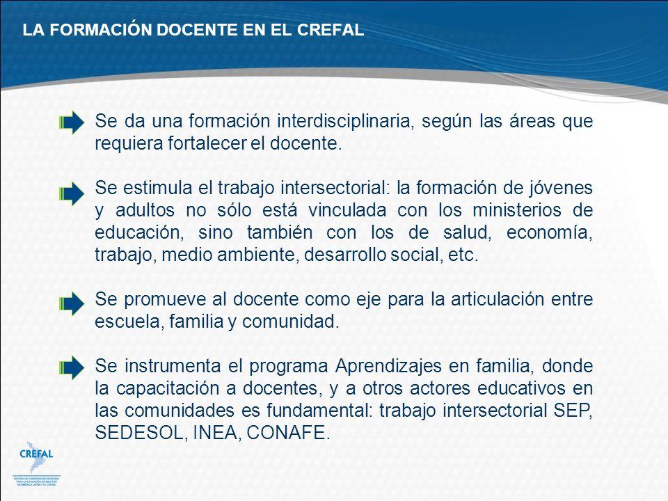 LA FORMACIÓN DOCENTE EN EL CREFAL Se da una formación interdisciplinaria, según las áreas que requiera fortalecer el docente. Se estimula el trabajo i