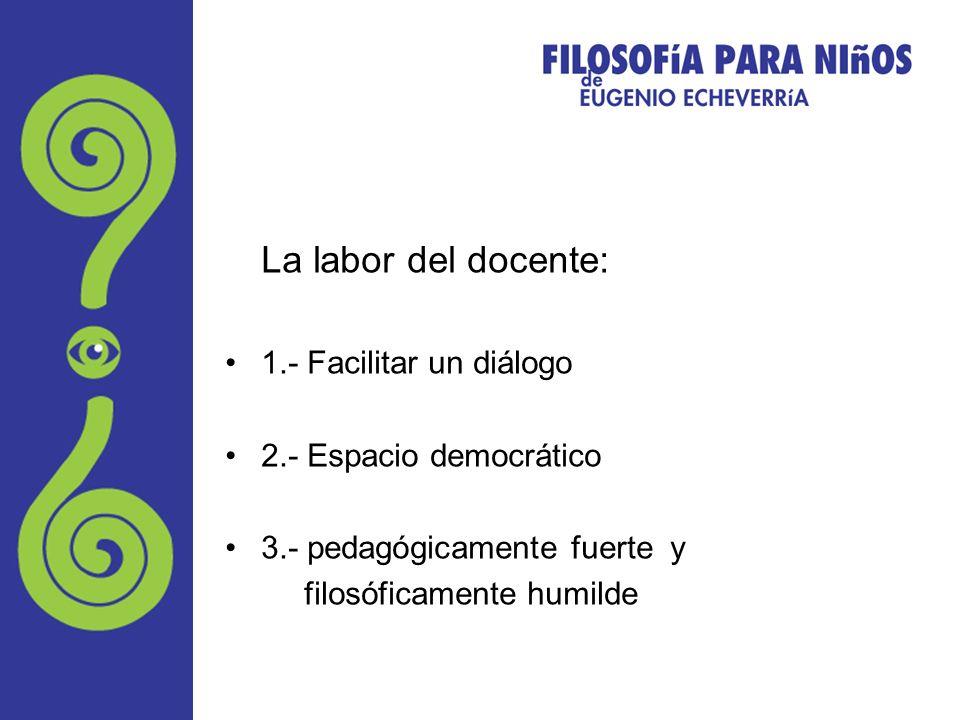 La labor del docente: 1.- Facilitar un diálogo 2.- Espacio democrático 3.- pedagógicamente fuerte y filosóficamente humilde