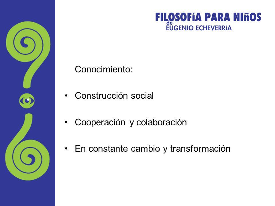 Conocimiento: Construcción social Cooperación y colaboración En constante cambio y transformación