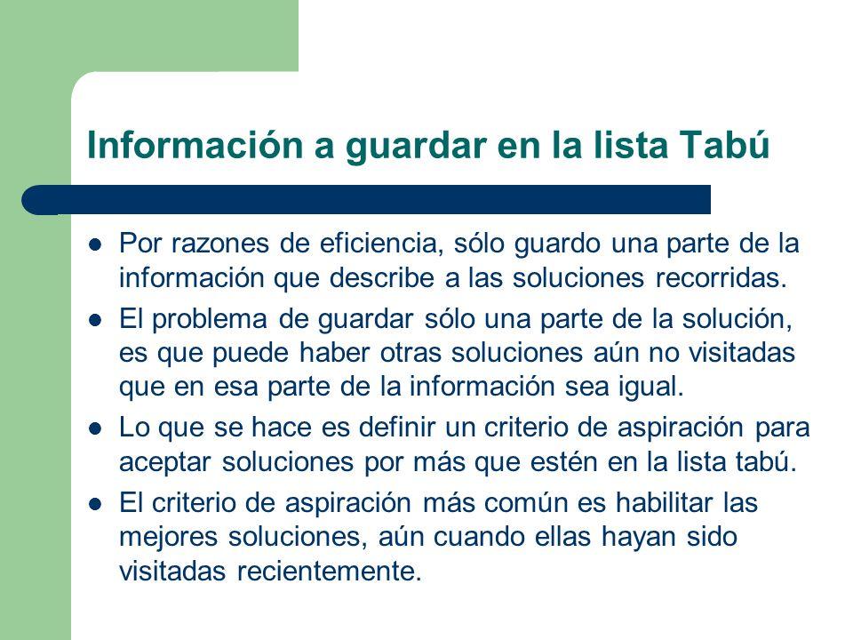 Información a guardar en la lista Tabú Por razones de eficiencia, sólo guardo una parte de la información que describe a las soluciones recorridas.