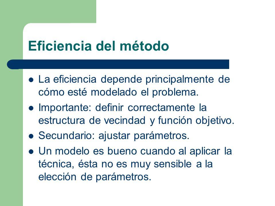 Eficiencia del método La eficiencia depende principalmente de cómo esté modelado el problema.