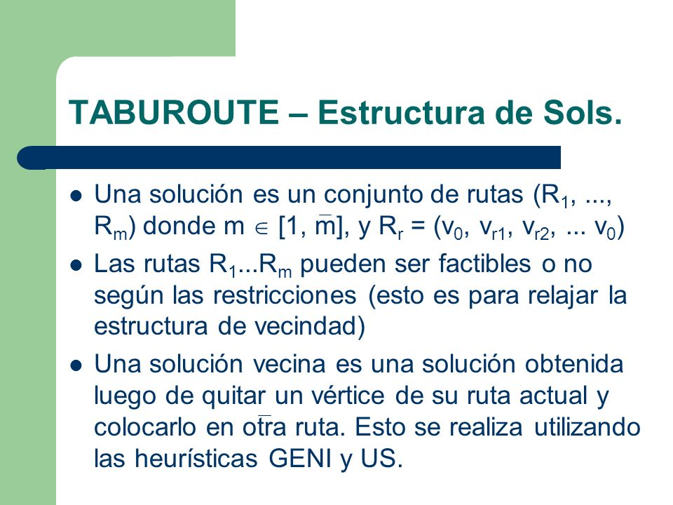 TABUROUTE – Estructura de Sols.