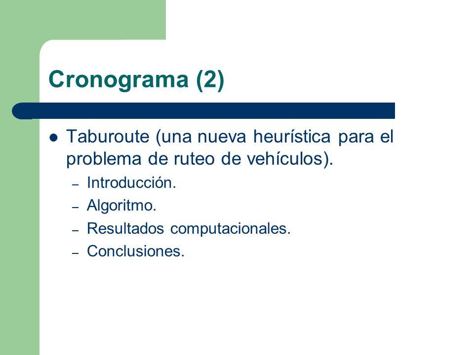 Cronograma (2) Taburoute (una nueva heurística para el problema de ruteo de vehículos).