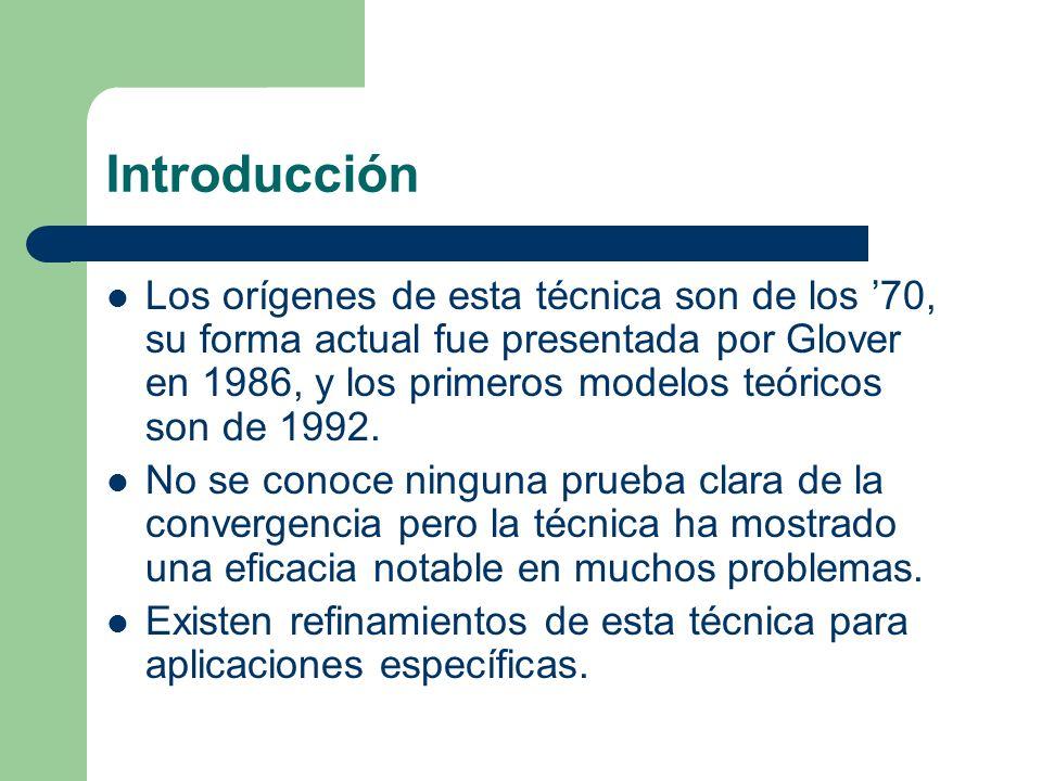 Introducción Los orígenes de esta técnica son de los 70, su forma actual fue presentada por Glover en 1986, y los primeros modelos teóricos son de 1992.