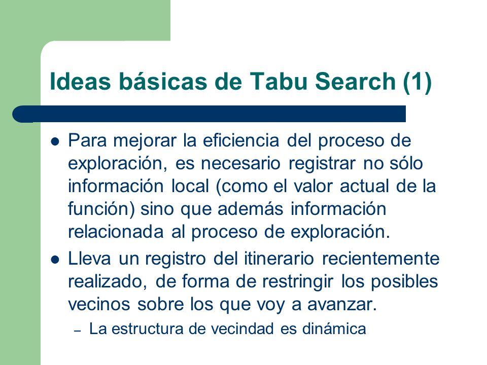 Ideas básicas de Tabu Search (1) Para mejorar la eficiencia del proceso de exploración, es necesario registrar no sólo información local (como el valor actual de la función) sino que además información relacionada al proceso de exploración.