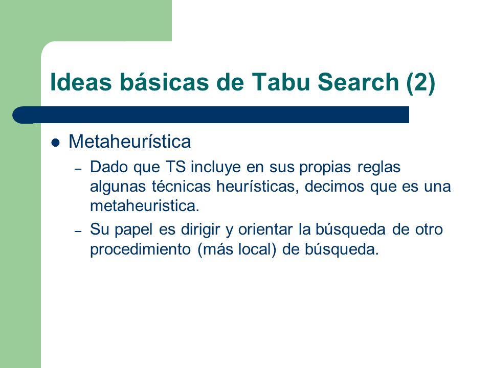 Ideas básicas de Tabu Search (2) Metaheurística – Dado que TS incluye en sus propias reglas algunas técnicas heurísticas, decimos que es una metaheuristica.