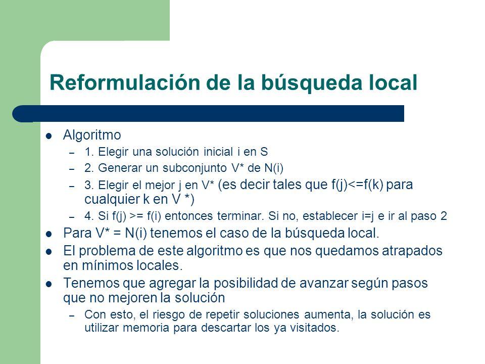 Reformulación de la búsqueda local Algoritmo – 1.Elegir una solución inicial i en S – 2.
