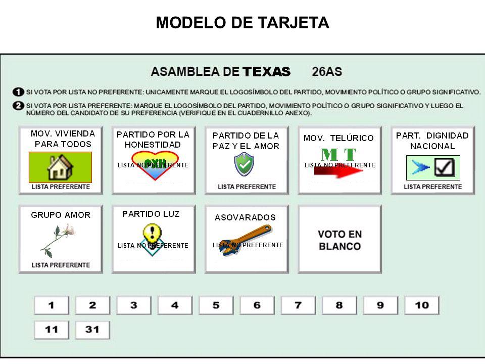 LISTA NO PREFERENTE MODELO DE TARJETA