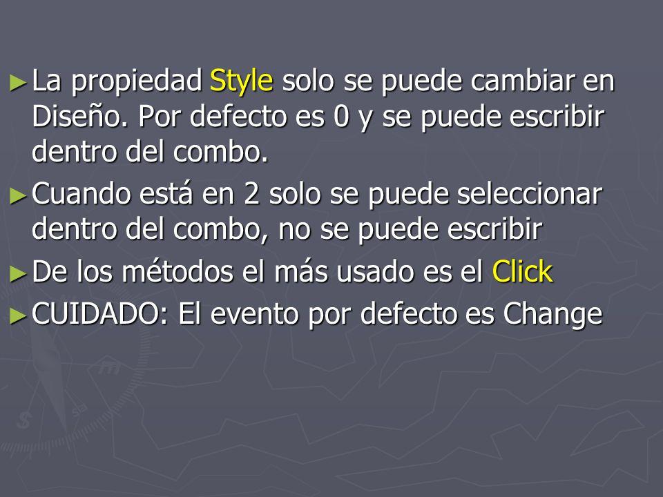 La propiedad Style solo se puede cambiar en Diseño.