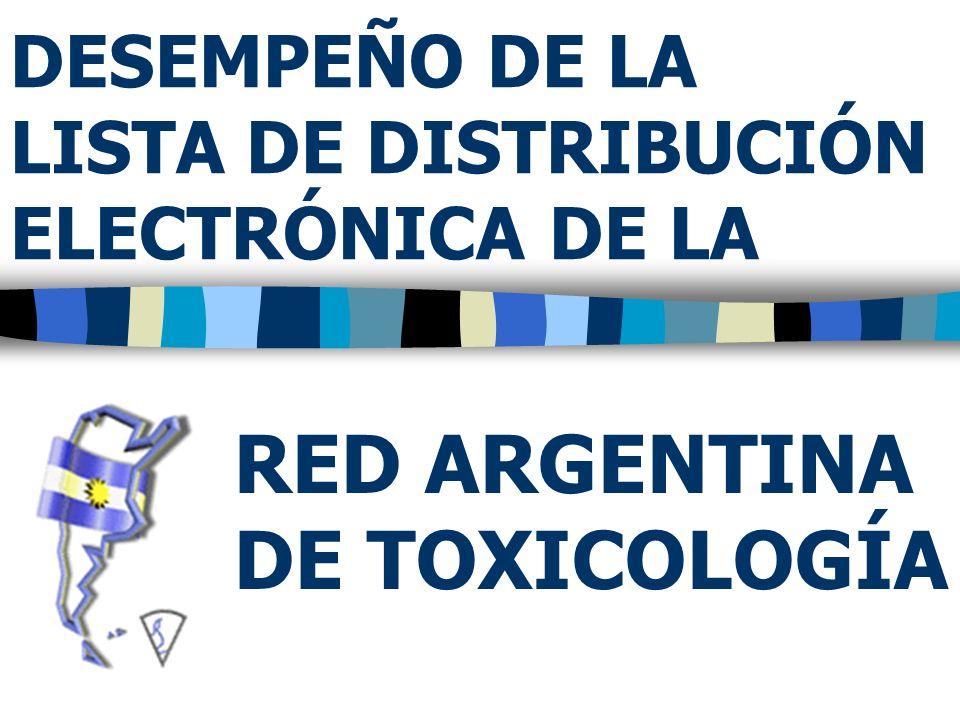 DESEMPEÑO DE LA LISTA DE DISTRIBUCIÓN ELECTRÓNICA DE LA RED ARGENTINA DE TOXICOLOGÍA