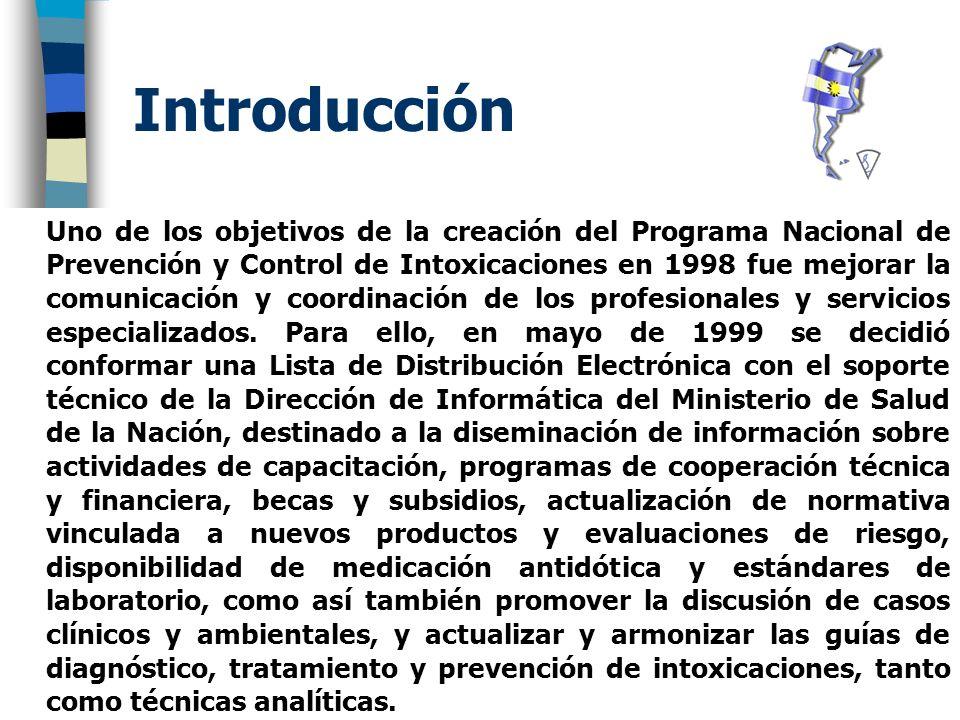Introducción Uno de los objetivos de la creación del Programa Nacional de Prevención y Control de Intoxicaciones en 1998 fue mejorar la comunicación y