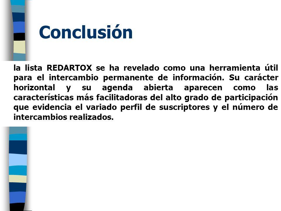 Conclusión la lista REDARTOX se ha revelado como una herramienta útil para el intercambio permanente de información. Su carácter horizontal y su agend