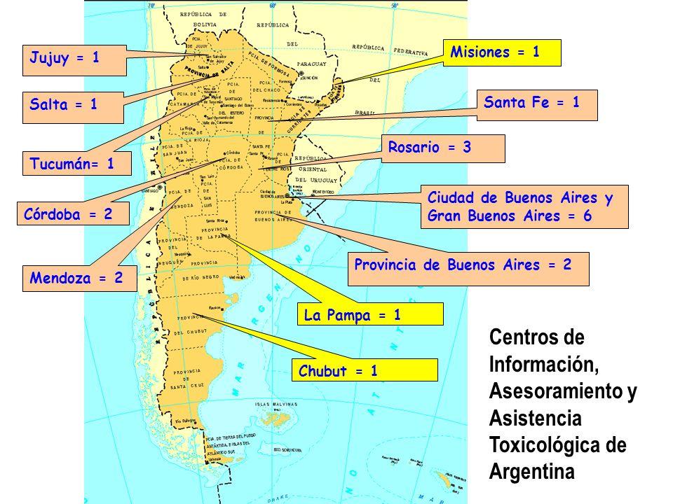 Neuquén = 1 Córdoba = 4 Santa Fe = 3 Rosario = 3 Jujuy = 2 Misiones = 2 Chubut = 2 Ciudad de Buenos Aires y Gran Buenos Aires = 7 Provincia de Buenos Aires = 4 Salta = 1 Tucumán= 1 San Luis = 1 Laboratorios de Análisis Clínicos Toxicológicos de Argentina