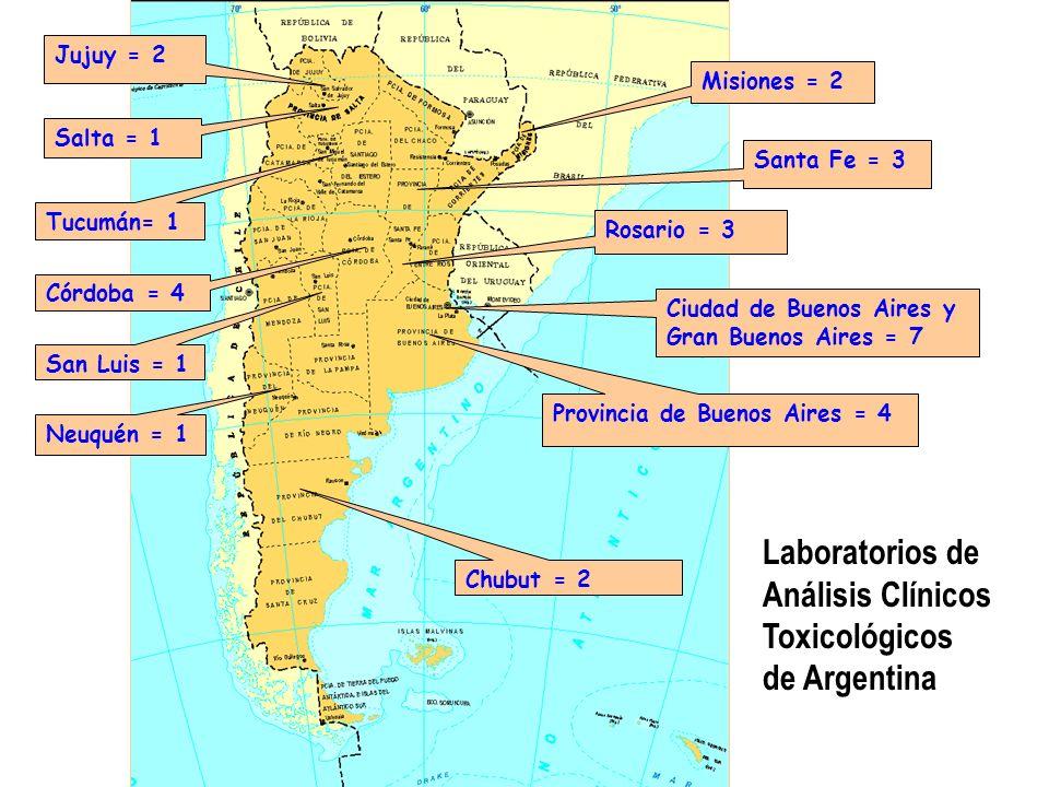 Neuquén = 1 Córdoba = 4 Santa Fe = 3 Rosario = 3 Jujuy = 2 Misiones = 2 Chubut = 2 Ciudad de Buenos Aires y Gran Buenos Aires = 7 Provincia de Buenos