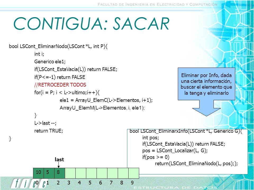 CONTIGUA: SACAR bool LSCont_EliminarNodo(LSCont *L, int P){ int i; Generico ele1; if(LSCont_EstaVacia(L)) return FALSE; if(P<=-1) return FALSE //RETRO