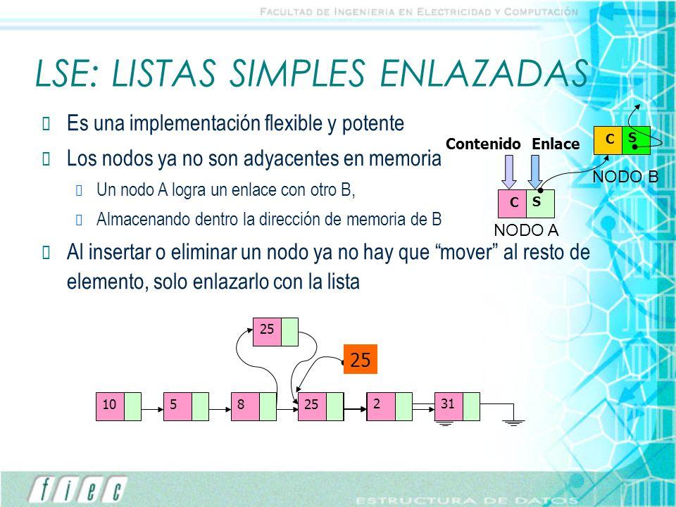 LSE: LISTAS SIMPLES ENLAZADAS Es una implementación flexible y potente Los nodos ya no son adyacentes en memoria Un nodo A logra un enlace con otro B,