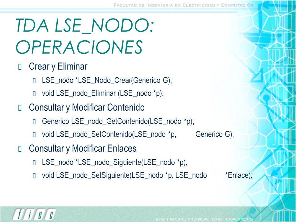 TDA LSE_NODO: OPERACIONES Crear y Eliminar LSE_nodo *LSE_Nodo_Crear(Generico G); void LSE_nodo_Eliminar (LSE_nodo *p); Consultar y Modificar Contenido