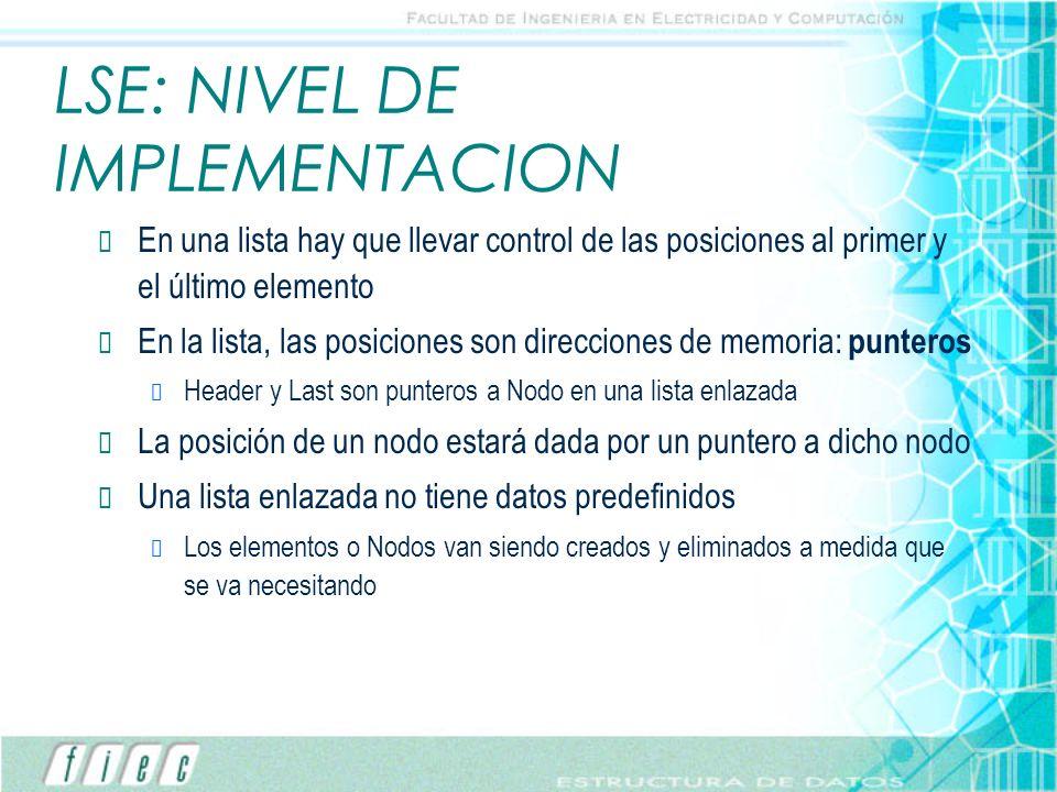 LSE: NIVEL DE IMPLEMENTACION En una lista hay que llevar control de las posiciones al primer y el último elemento En la lista, las posiciones son dire