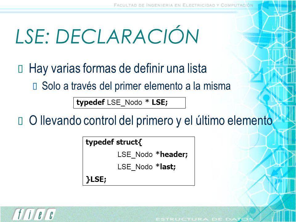 LSE: DECLARACIÓN Hay varias formas de definir una lista Solo a través del primer elemento a la misma O llevando control del primero y el último elemen