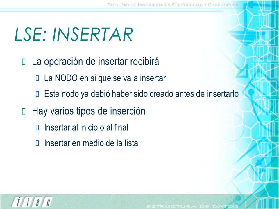 LSE: INSERTAR La operación de insertar recibirá La NODO en si que se va a insertar Este nodo ya debió haber sido creado antes de insertarlo Hay varios