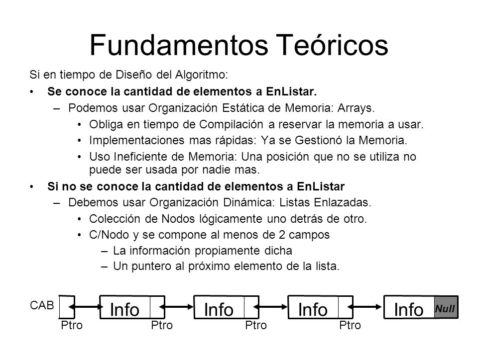 Clasificación de Listas Enlazadas Apunta al PrimeroNullUltimo Nodo Forward y Backward Circular Forward Circular Forward y Backward ForwardRecorrido Eficiente 1 al sucesor 1al predecesor 1 al sucesor 1al predecesor 1 al sucesor# Enlaces del Nodo Circular Doblemente Enlazada Circular Simplemente Enlazada Doblemente Enlazada Simplemente Enlazada Se pueden implementar con Arrays o Punteros.