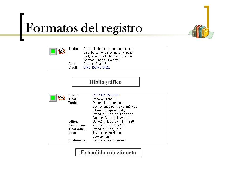 Formatos del registro Bibliográfico Extendido con etiqueta