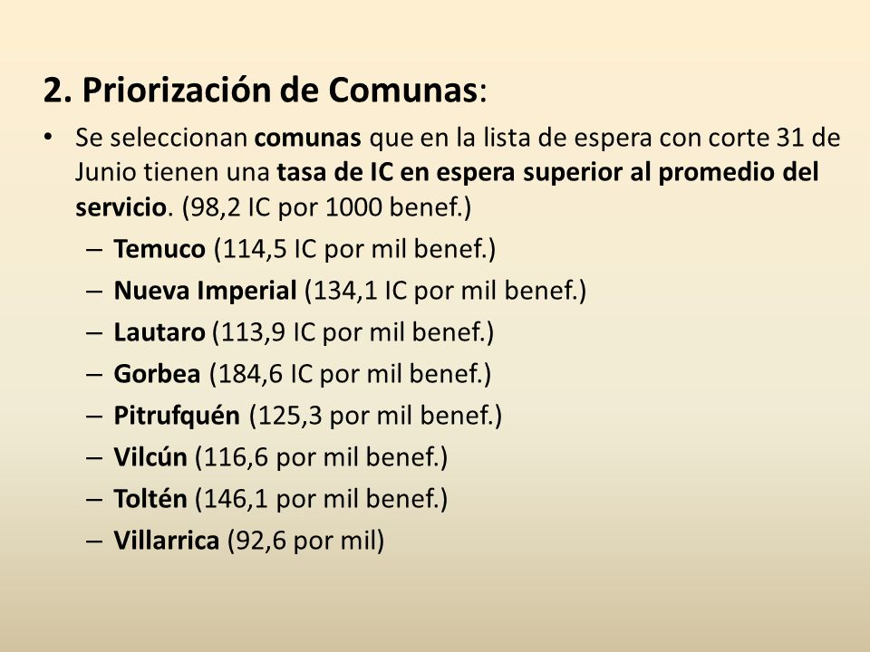 2. Priorización de Comunas: Se seleccionan comunas que en la lista de espera con corte 31 de Junio tienen una tasa de IC en espera superior al promedi