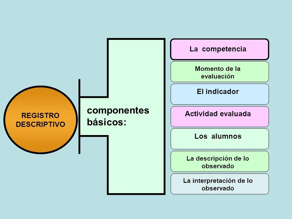 componentes básicos: La competencia Momento de la evaluación Los alumnos La descripción de lo observado La interpretación de lo observado Actividad ev