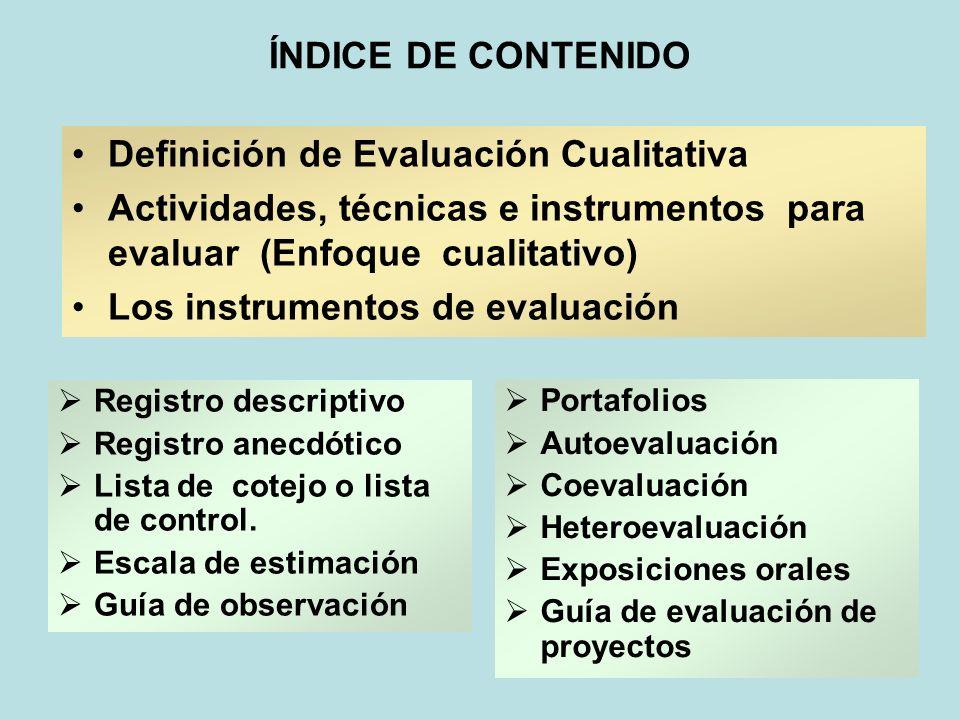 ÍNDICE DE CONTENIDO Definición de Evaluación Cualitativa Actividades, técnicas e instrumentos para evaluar (Enfoque cualitativo) Los instrumentos de e