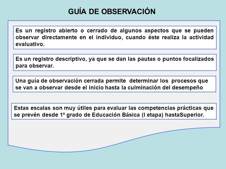 GUÍA DE OBSERVACIÓN Es un registro abierto o cerrado de algunos aspectos que se pueden observar directamente en el individuo, cuando éste realiza la a