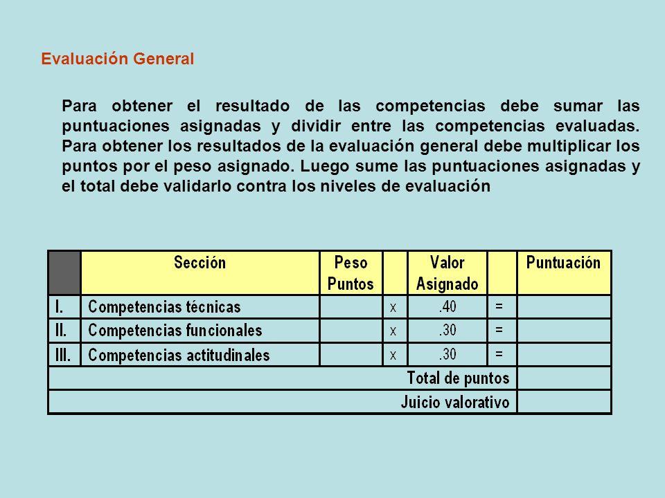 Evaluación General Para obtener el resultado de las competencias debe sumar las puntuaciones asignadas y dividir entre las competencias evaluadas. Par