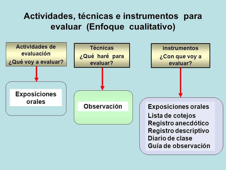 Actividades, técnicas e instrumentos para evaluar (Enfoque cualitativo) Maquetas / Redacciones / Informes / Trabajos escritos / Carteleras, dibujos, pinturas…/ Dramatizaciones y simulaciones/ Proyectos de trabajo.