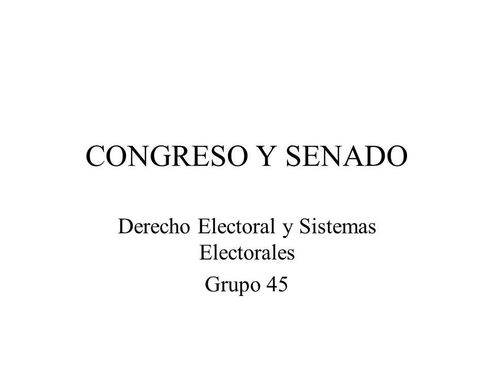 CONGRESO Y SENADO Derecho Electoral y Sistemas Electorales Grupo 45