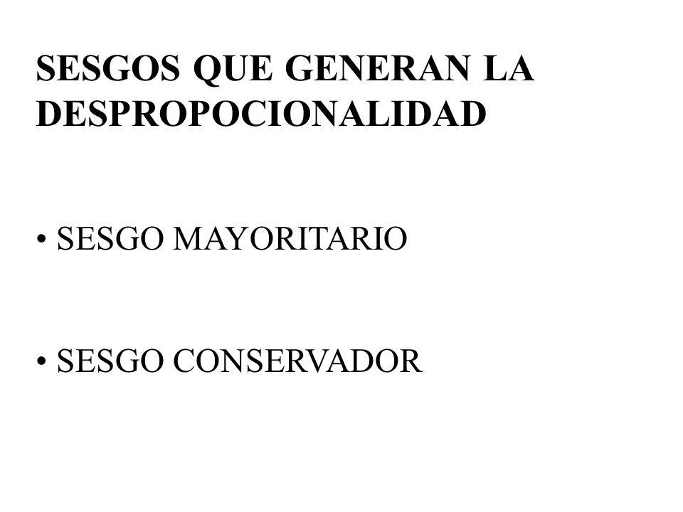 SESGOS QUE GENERAN LA DESPROPOCIONALIDAD SESGO MAYORITARIO SESGO CONSERVADOR