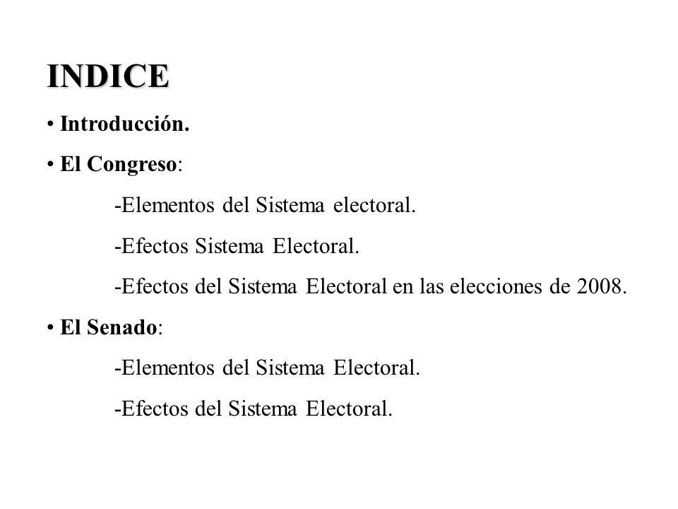 INDICE Introducción. El Congreso: -Elementos del Sistema electoral. -Efectos Sistema Electoral. -Efectos del Sistema Electoral en las elecciones de 20