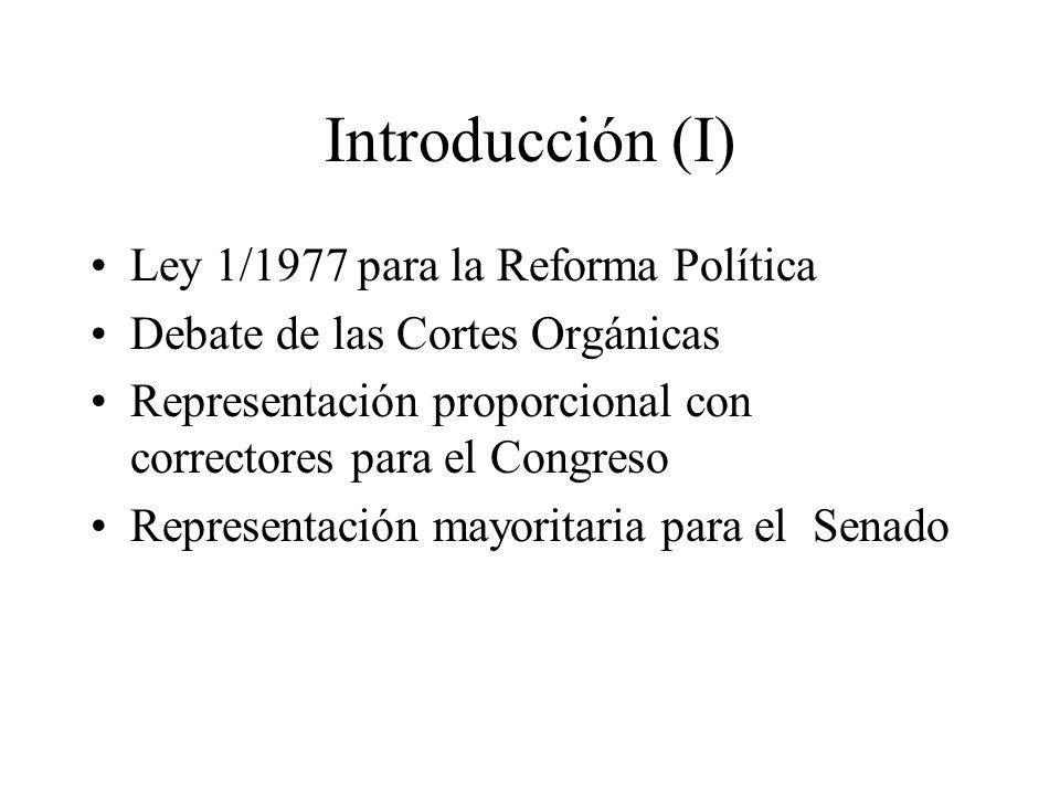 Introducción (I) Ley 1/1977 para la Reforma Política Debate de las Cortes Orgánicas Representación proporcional con correctores para el Congreso Repre