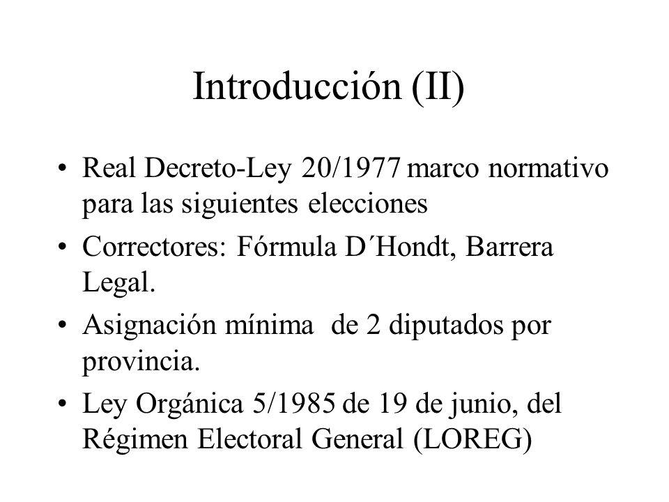 Introducción (II) Real Decreto-Ley 20/1977 marco normativo para las siguientes elecciones Correctores: Fórmula D´Hondt, Barrera Legal. Asignación míni