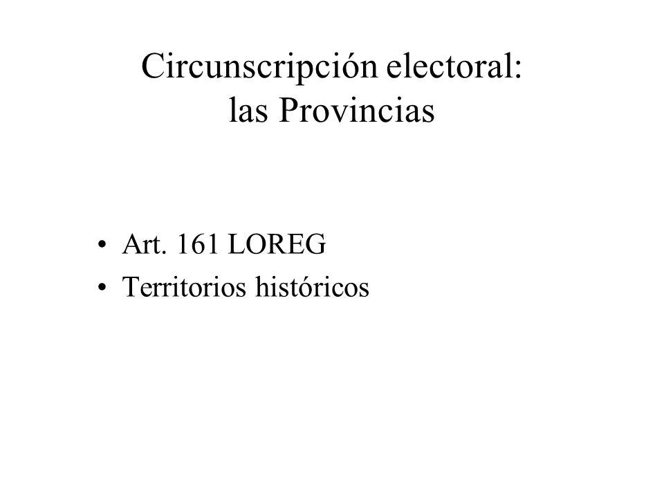 Circunscripción electoral: las Provincias Art. 161 LOREG Territorios históricos