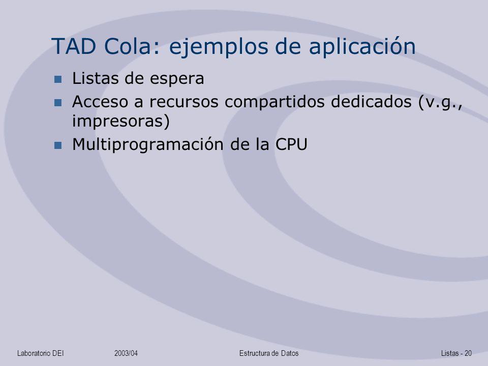 Laboratorio DEI2003/04Estructura de DatosListas - 20 TAD Cola: ejemplos de aplicación Listas de espera Acceso a recursos compartidos dedicados (v.g., impresoras) Multiprogramación de la CPU
