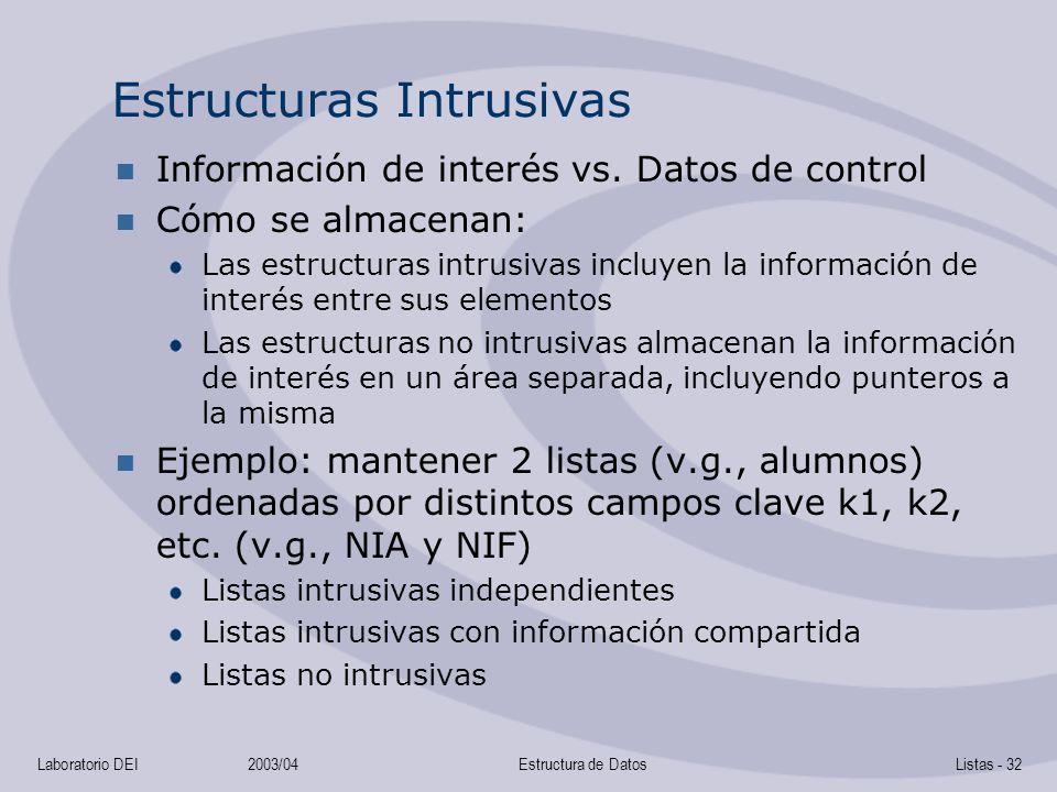Laboratorio DEI2003/04Estructura de DatosListas - 32 Estructuras Intrusivas Información de interés vs. Datos de control Cómo se almacenan: Las estruct