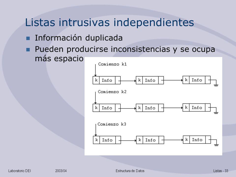 Laboratorio DEI2003/04Estructura de DatosListas - 33 Listas intrusivas independientes Información duplicada Pueden producirse inconsistencias y se ocupa más espacio